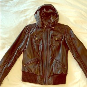 Michael Kors Leather Bomber Jackey